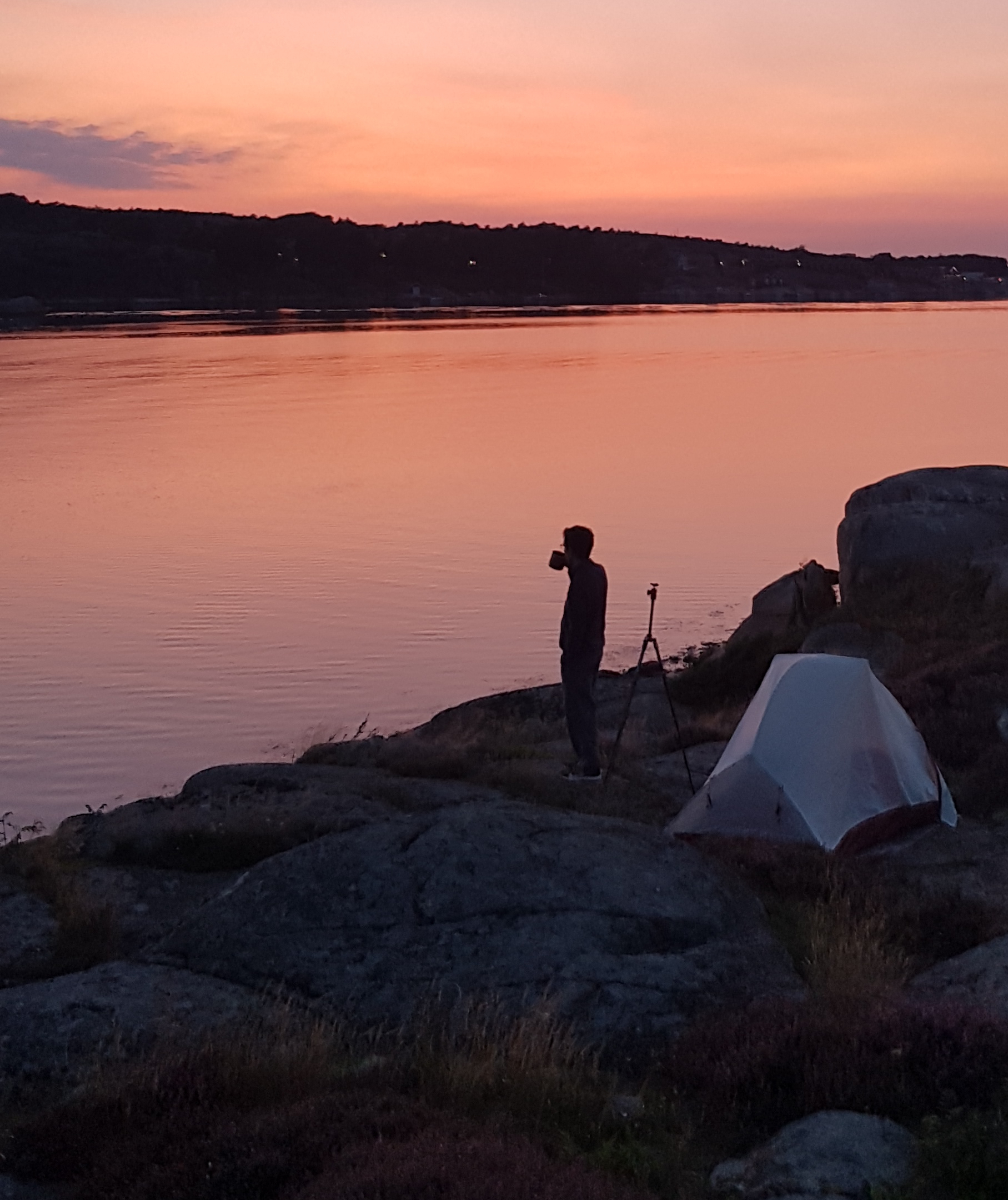 Sunset on the Bohuslan coast, sleeping in a tent in Sweden